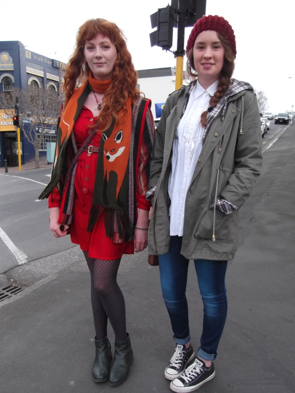 "Esther and Benny from Christchurch. Esther wears scarf from Dangerfield and op-shop dress. Benny wears jacket from Max. ""We love art galleries, old buildings and coffee so we feel at home here""."