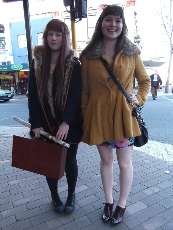 Kate and Abby. Kate wears shoes by Andrea Biani. Abby wears coat from Glassons and vintage boots.