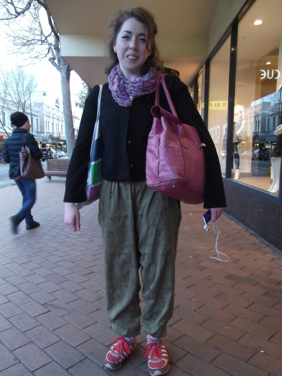 Anna wears jacket by Megan Tuffery, scarf from her cousin and pants from her sister.