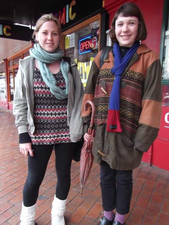 Marlene and Zoe. Marlene wears borrowed. Zoe wears op-shop, scarf by NOM*d and shoes off TradeMe.