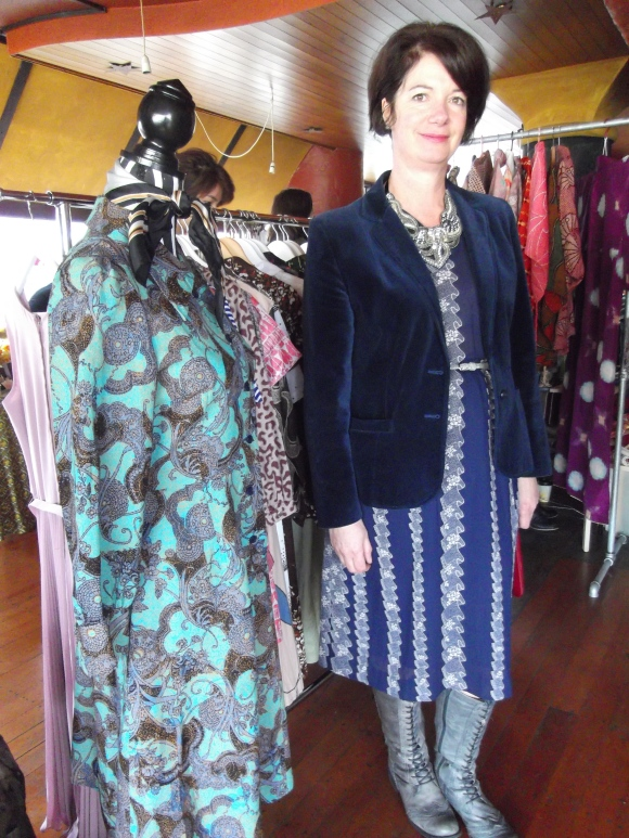 Sharon Bratton of the Vintage Dress Company wears dress by VDC.