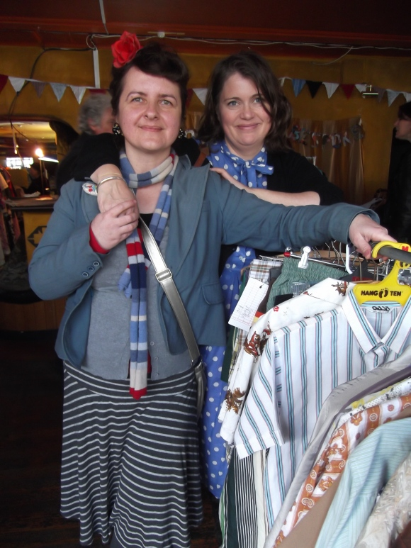 Liz King of King's Emporium (on right) and friend Sandra from Waitati enjoy girl time.