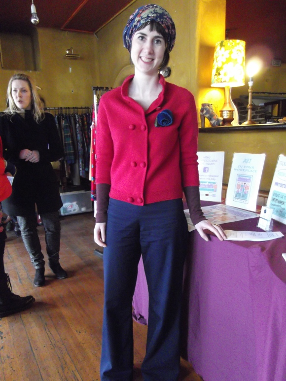 Fiona (image consultant) of Swish in the City wears vintage jacket, brooch by Tamsin Cooper and homemade flairs.