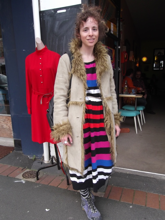 Annelyse wears coat from ReStore.