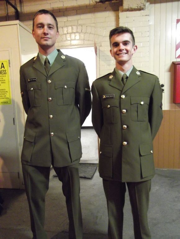 Who can resist a man in uniform? Soldiers of the 4th Otago Southland Battalion: Richard and Michael.