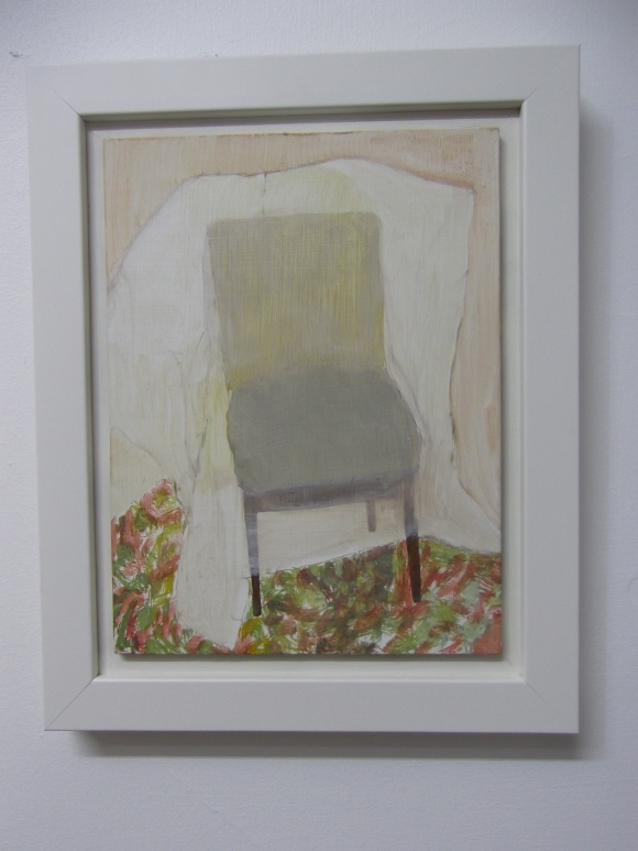 Nicola's 'Chair Wrapped In Plastic' (acrylic on board)