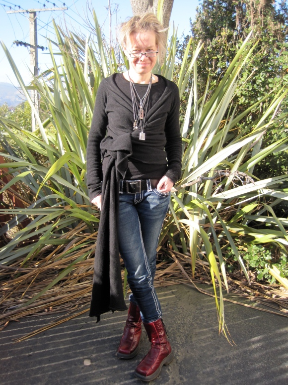 Wrap cardigan by Rick Owens, jeans by True Religion, 'Dunedin' belt by NOM*d, boots by Dr Martens.