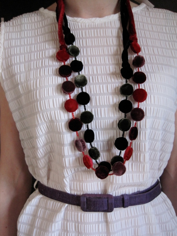 Velvet and bead necklaces by Tamsin Cooper ($29.95 each) – Tamsin Cooper Outlet (30 Moray Place). Worn with dress from King's Emporium.