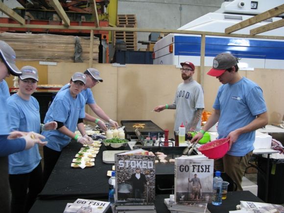 Harbour Fish employees assembling fish burgers – they were delicious!
