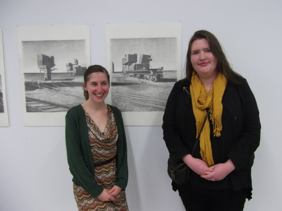 Anthea and Jess with Untitled (9) and Untitled (10)