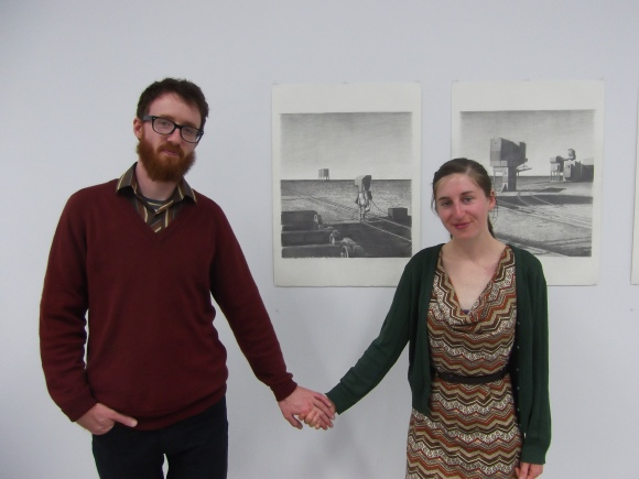 Dan and Anthea with Untitled (8) and Untitled (9)
