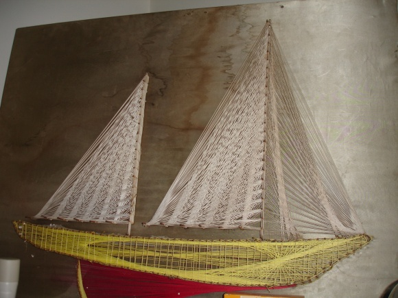 String art boat from an Oamaru opshop – only cost $2!