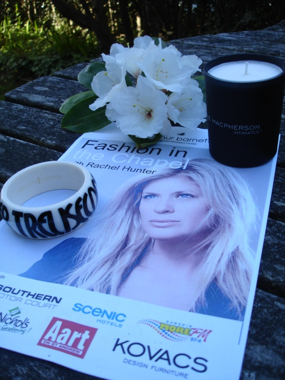 Items from the goodie bag: Trelise Cooper cuff bracelet and Elle Macpherson Intimates rose fragranced candle.
