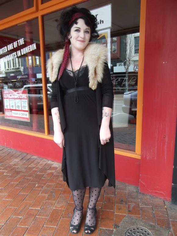 Julianna wears homemade dress and a vintage stole.