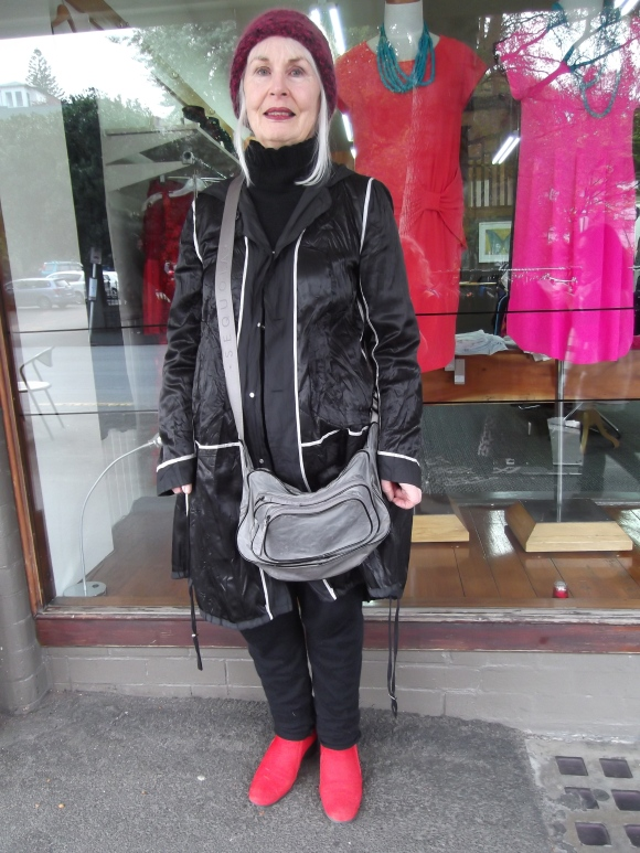 Jill wears jacket from Christchurch, handmade hat and bag from Paris.
