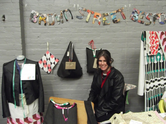 Amanda from 'Brown Street Bespoke' displays her vintage-inspired textiles