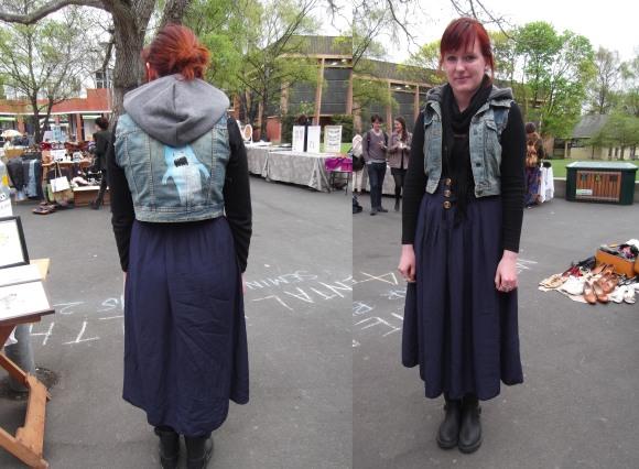 Jennifer wears customised skirt and waistcoat.
