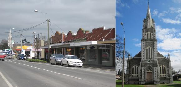 Milton main street and Tokomairiro Community Church