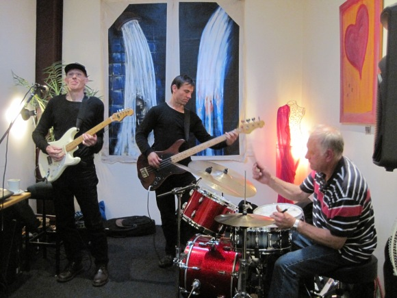 Philtre. From left: Phil Lyons (guitar, tenor sax), Nathan Berg (electric bass), Kevin Finigan (drums).