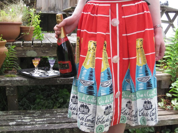 Vibrant Clos de Conte wine bottle skirt from Two Squirrels Vintage.
