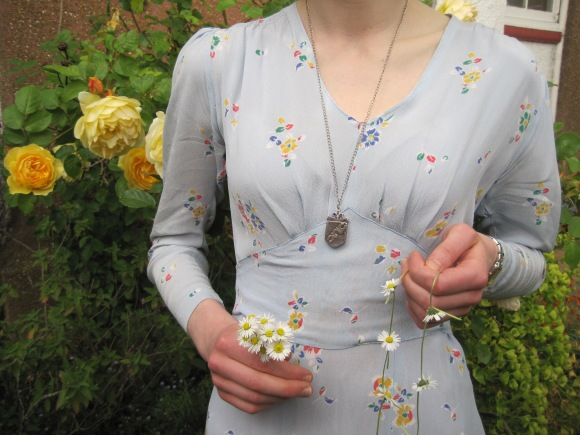 1940s floral print day dress from Two Squirrels Vintage worn with vintage locket from Birmingham.