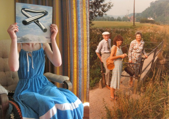 Like mother, like daughter. Left: late 1970s towelling beach dress from Two Squirrels Vintage. Original 'Tubular Bells' (Mike Oldfield) LP. Right: c1980, Bridgnorth, Shropshire featuring the latest fashion trend – the towelling dress.