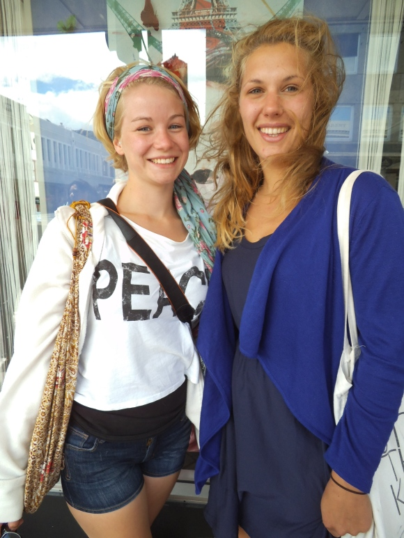Sina (from Germany) and Marieke (from The Netherlands) wear a mixture of local and overseas brands.