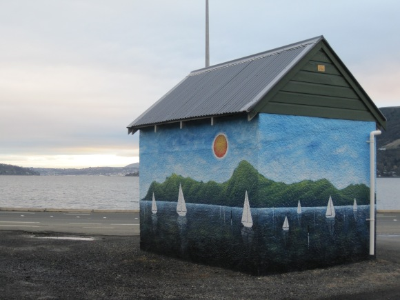 Bus shelter, Company Bay, painted by Daniel Mead: a tribute to John Noakes