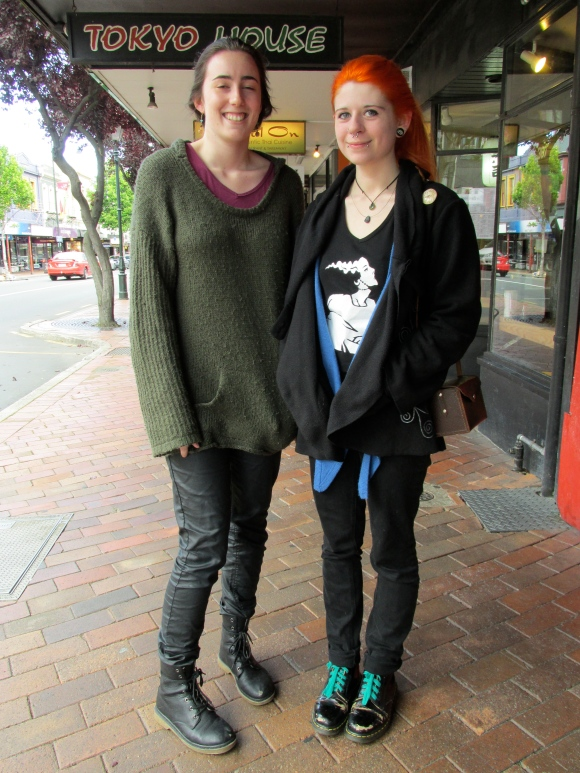 Michaela and Olivia. Michaela wears Farmers. Olivia wears top she designed herself and jacket from Yaks n Yetis.