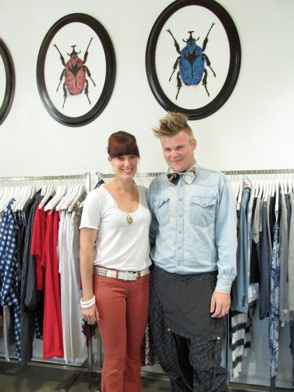 Trudie and Ben. Trudie wears jeans by MiH and top by Kowtow. Ben wears vintage shirt, bow tie by Julian Danger and 'Cosmonauts' by NOM*d.