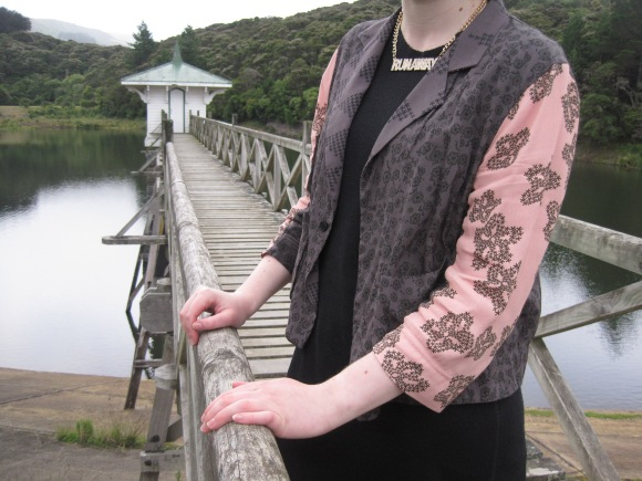 'Glorious Jacket' by NOM*d from Plume worn with dress by NOM*d and necklace by Karen Walker from Belle Bird Boutique