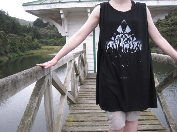 'Diamond Fans' oversize singlet by NOM*d from Plume worn with shorts by NOM*d