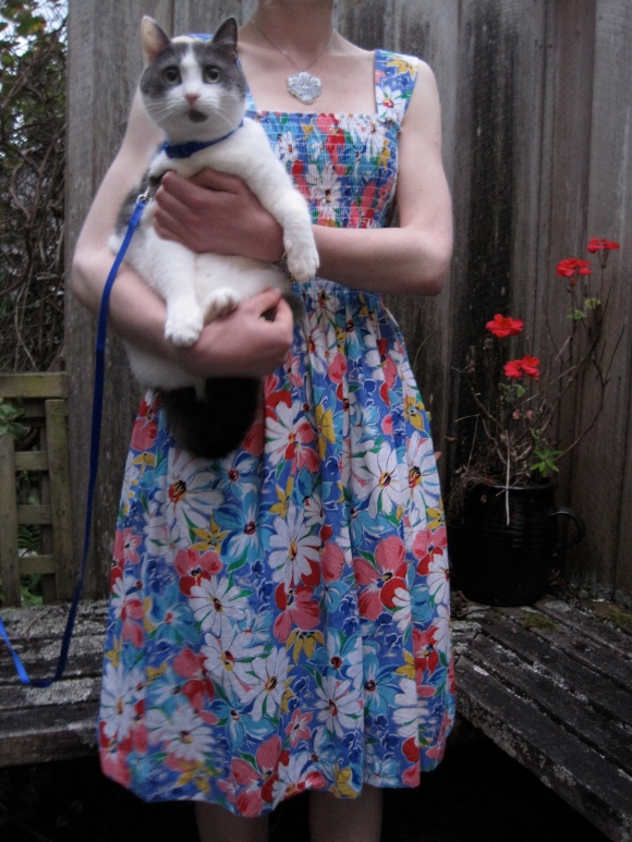 Floral vintage dress from Two Squirrels Vintage worn with Wendy James pendant. Tudor wears cat harness from Gardens Veterinary Clinic.