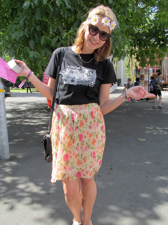 Veronica wears Radio One t-shirt and op-shop skirt.