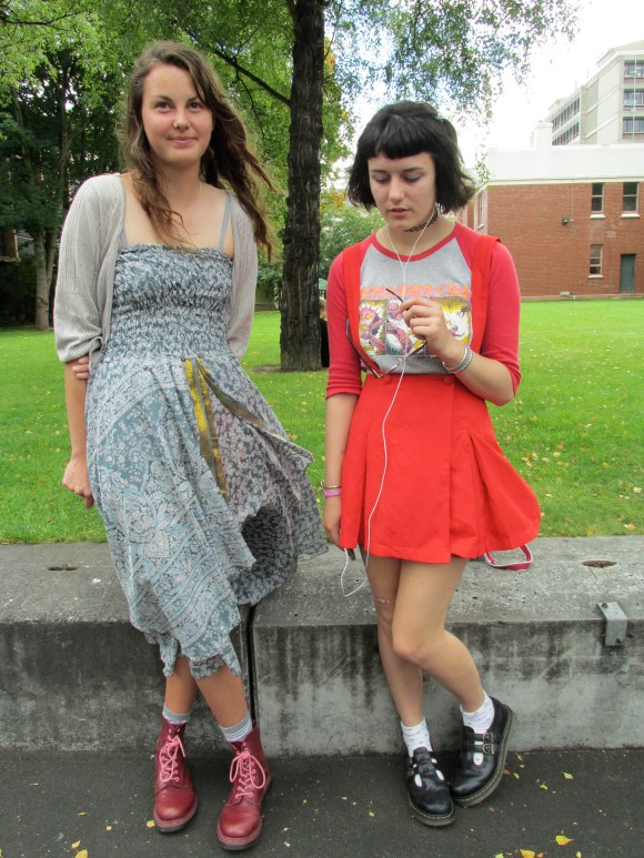 Anna-Marie and Christina. Anna-Marie wears dress from Yaks n Yetis. Christina wears skirt and braces from Topshop.