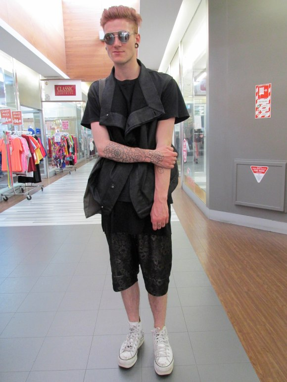 Wesley wears top by Rick Owens, shorts by Zambesi and Converse customised by Philip James Frost x Company of Strangers.