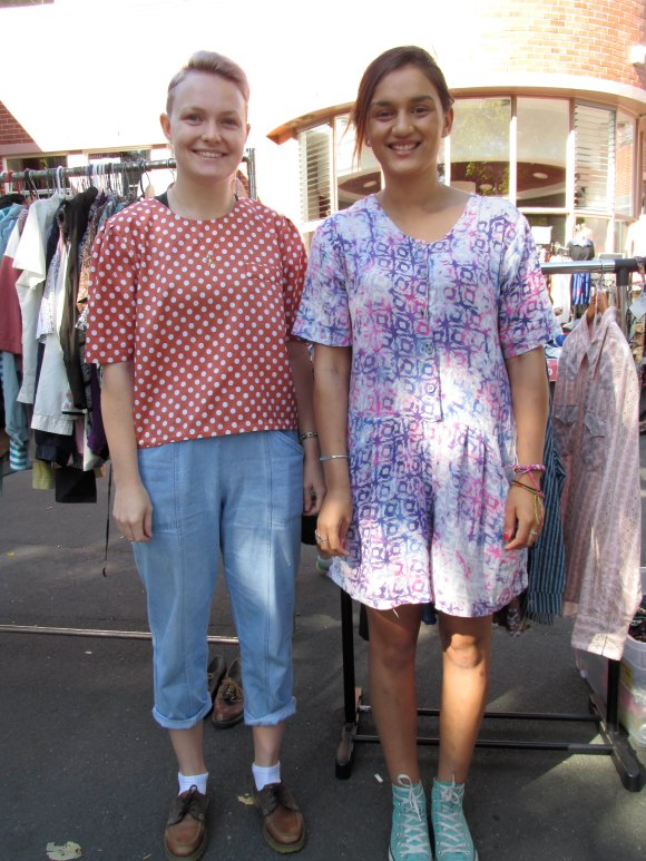 Sophie and Bianca. Sophie wears op-shop. Bianca wears dress from Salvation Army shop.