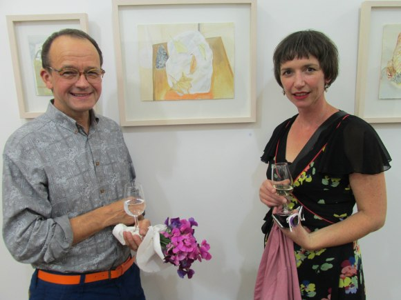 Artist, John Z Robinson and friend Rachael with Nicola Hansby's 'Still Life'