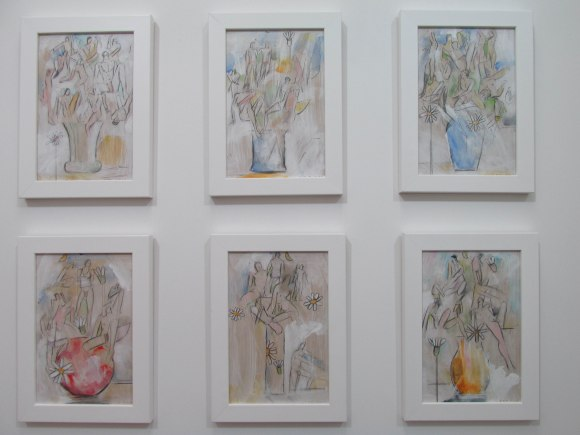 'Vase of Men' series by John Z Robinson. Varnished pencil & acrylic on hardboard.