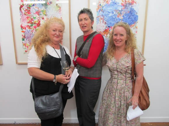 Nicky, Annie and Susan with works by Kirsten Ferguson