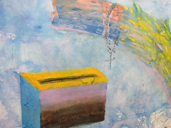 Detail from 'God Box Dog Box' by Peter Cleverley. Acrylic on canvas.