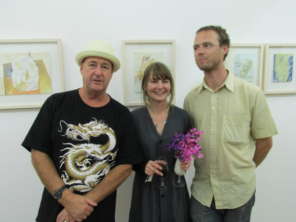 Artists Peter Cleverley and Nicola Hansby with musician Chris Wratislav