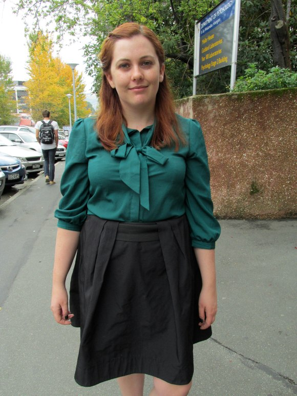 Jessica wears vintage blouse and skirt by Cue.