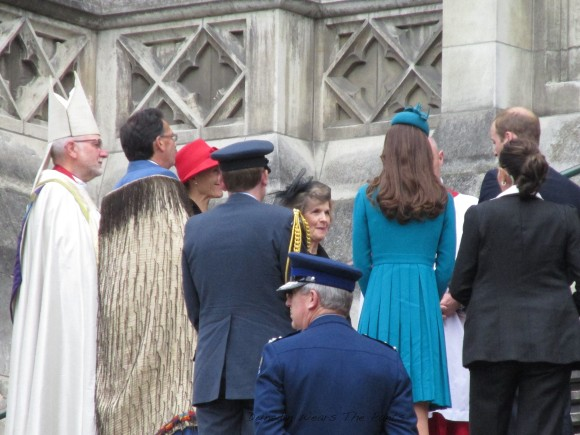 On the steps of St Paul's. The Duchess of Cambridge wears dress by Emilia Wickstead.