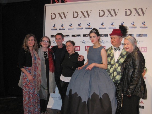 From left: Tanya Carlson, Lucy Jones, Martin Grant, Mahshid Mahdian, Ilish Thomas wearing 'Shadows', Francis Hooper, Margi Robertson