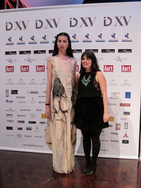 Alanna Barca (right) with a piece from her 'Ornamental Forms' collection which won the Caffe L'affare 2nd place award.