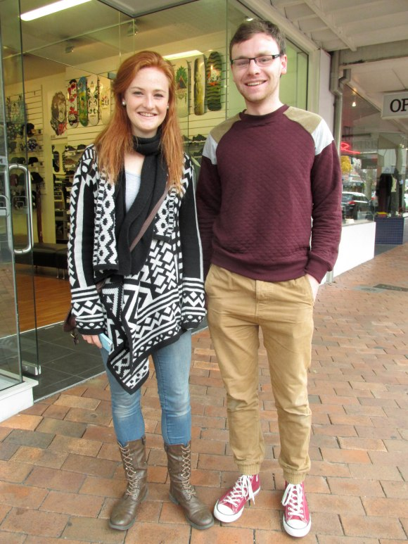 Eleanor and Chris. Eleanor wears cardigan bought in Wellington and shoes from San Francisco. Chris wears shoes by Banks.