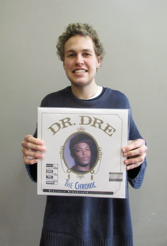 "Fraser holds Dr. Dre's 'The Chronic' (1992) … ""he's the man"" for founding G-funk gansta rap."