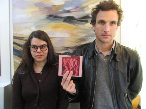 Lucy and Tim with a CD of their debut album 'Opposite Sex'