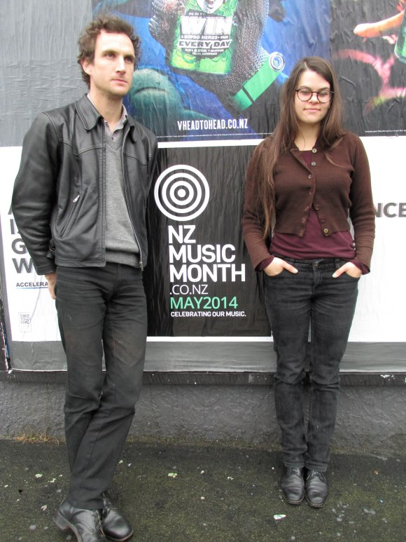 Tim Player and Lucy Hunter outside The Green Acorn Cafe, Dunedin